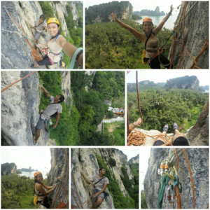 monkey wall multi pitch climbing with real rocks at railay beach