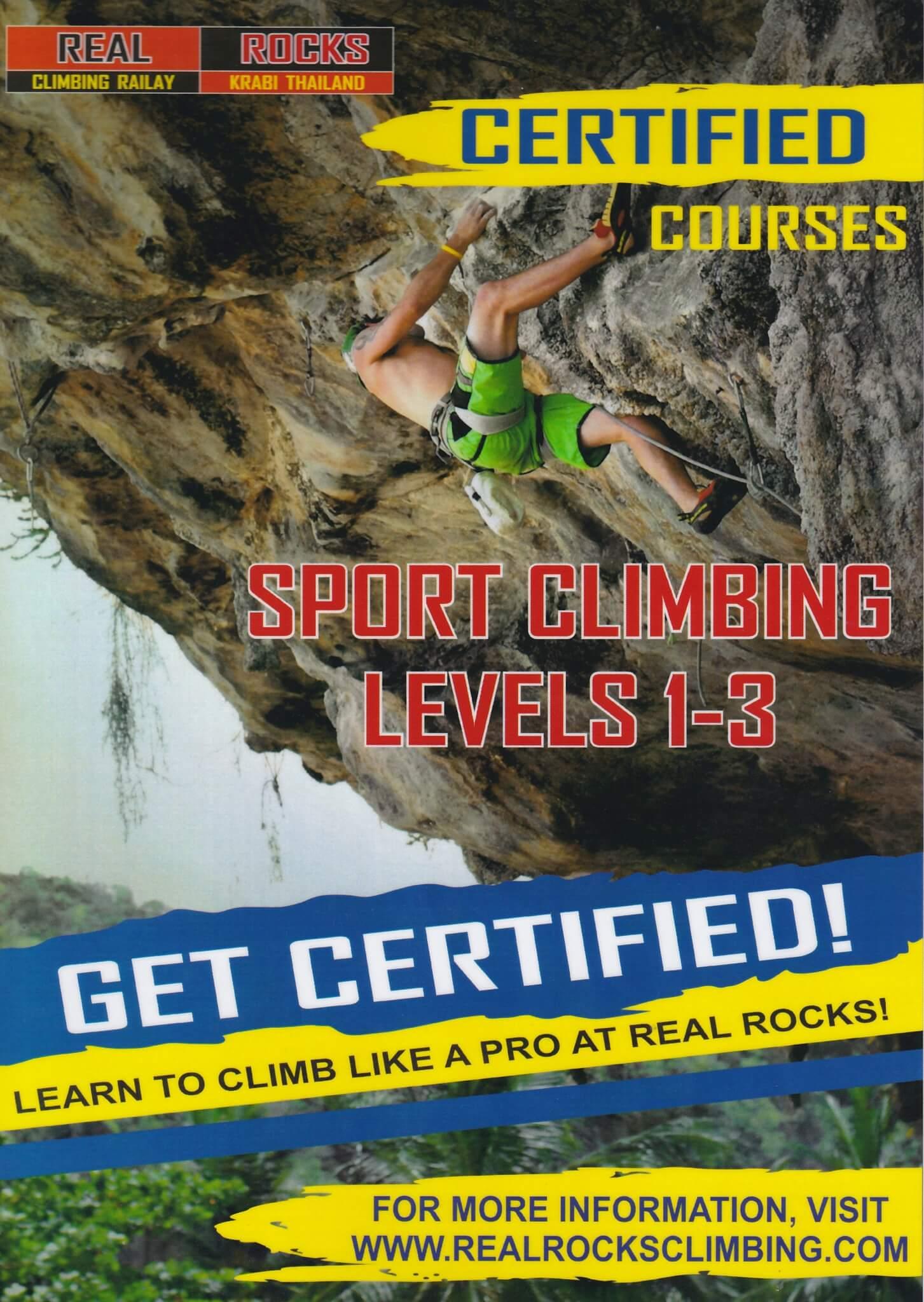certified courses poster — Real Rocks Climbing shop/school: rock ...